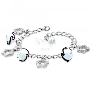Bracelet of silver colour - glossy chain, flower contours, flowers with waves
