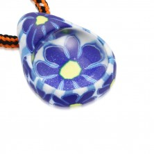 Cord necklace - FIMO tear with blue flowers, glass ball
