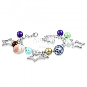 Bracelet - synthetic pearls, two-colour beads, contours of stars and flowers