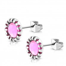 Steel studs - carved flower, stone of light pink colour