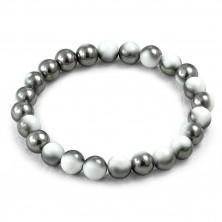 Elastic bracelet - two-colour ceramic beads, 180 mm