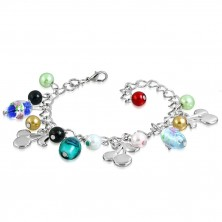 Chain bracelet with pendants - beads with roses, cherries, artificial pearls