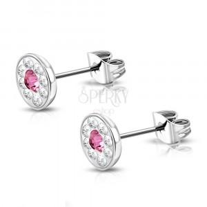 Steel earrings - flower with Swarovski® components, pink zircon, 7 mm