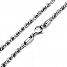 Spiral chain made of steel, silver colour, oval eyelets, 450 mm
