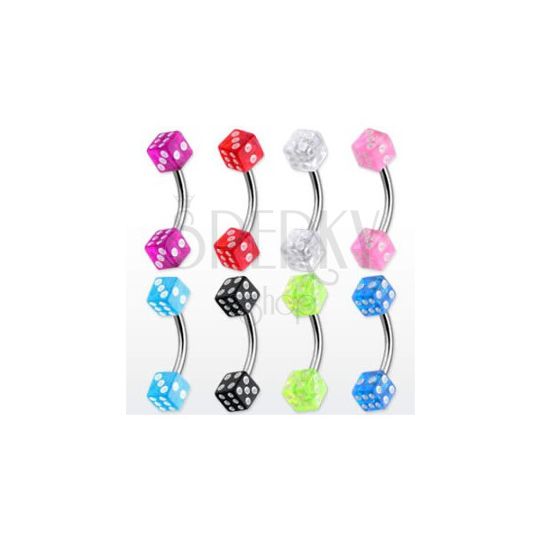 Eyebrow ring - colourful game dices