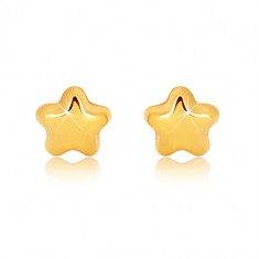 Yellow 9K gold earrings - glossy star with five points, studs