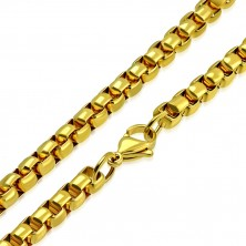 Chain made of 316L steel in gold colour, shiny oval links, 620 mm