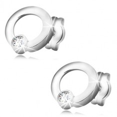 White 585 gold earrings - glossy circles, glittery round zircons, studs