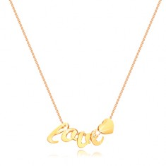 Yellow 375 gold necklace - thin chain, letters l, o, v, e, heart