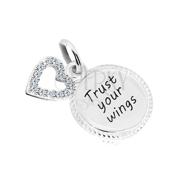 "925 silver pendant - circle with inscription ""Trust your wings"", heart contour with zircons"