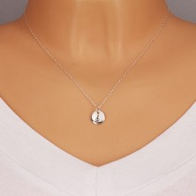 925 silver pendant - glossy circle with violin clef