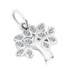 925 silver pendant - life three, leaves with clear round zircons