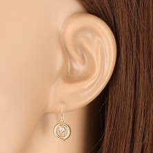9K gold earrings - ringlet made of yellow gold, holder of white gold and zircon