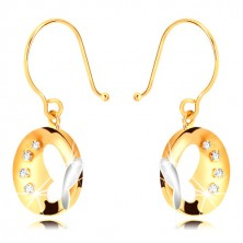 Combined 375 gold earrings - glossy circle with butterfly and zircons