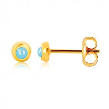 Yellow 9K gold earrings - glossy round holder with synthetic turquoise