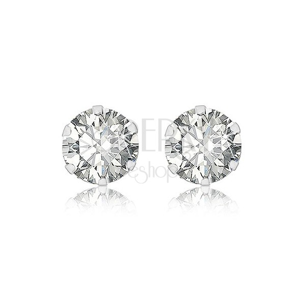 White 9K gold earings - glittery zircon gripped with six prongs, 5 mm