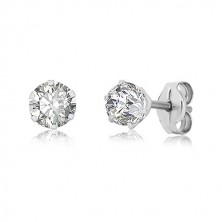 375 white gold earrings - glittery zircon gripped with six prongs, 4 mm