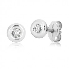 White 9K gold studs - glossy band and clear round zircon