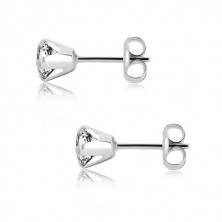 White 375 gold earrings - glittery transparent zircon, four prongs, 5 mm