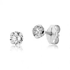 White 9K gold earrings - clear glittery zircon, four prongs, 4 mm
