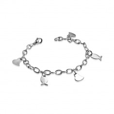 Stainless steel bracelet - wider chain, assymetric heart and fishes
