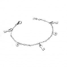 Stainless steel bracelete in silver colour - glossy balls and keys
