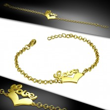 """Steel bracelet of gold colour - symmetric heart and inscription """"Love"""", chain of round rings"""