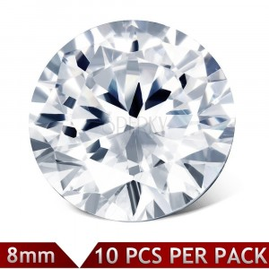 Set of spare round zircons of clear colour, 8 mm