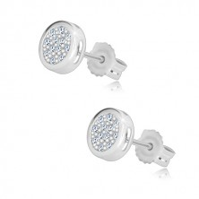 White 14K gold studs - circle inlaid with clear zircons