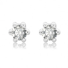 White 375 gold earrings - cut round zircons gripped with six prongs, 5 mm