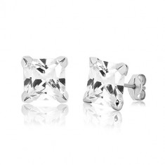 White 9K gold earrings - clear zircon square gripped with four prongs, 8 mm
