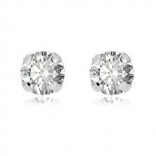 White 375 gold earrings - round zircon in transparent hue, four sticks, 3 mm