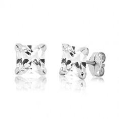 White 9K gold studs - glittery square zircon in mount, 6 mm