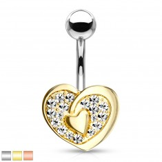 316L steel belly piercing - heart contour with heart in the center, glittery zircons