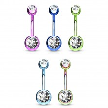 Steel belly piercing - balls with glittery zircons, various colours, length 10 mm