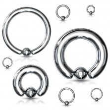 316L steel piercing - simple circle with a ball, silver colour, width 6 mm