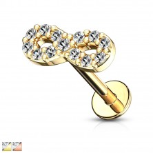 Chin, lip or ear piercing - symbol of infinity with zircons, length 8 mm