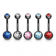 316L steel belly piercing - banana of black colour, coloured zircons, length 10 mm