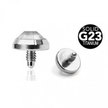 Spare impant head made of G23 titanium - clear round zircon, 5 mm