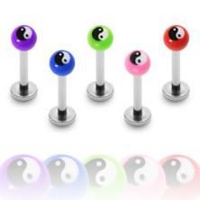 Labret or monroe ball bead, Yin-Yang symbol