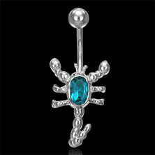 Silver scorpion belly ring, colorful zircon