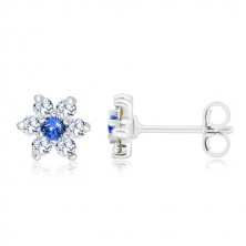 Studs, 925 silver - glittery flower, clear zircons and center of sapphire colour