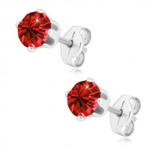 925 silver earrings - glittery zircon of deep red colour in mount, studs