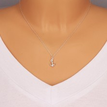 Double sided pendant made of 925 silver - glossy anchor with rope