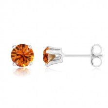 925 silver earrings - round glittery zircon in honey-orange hue