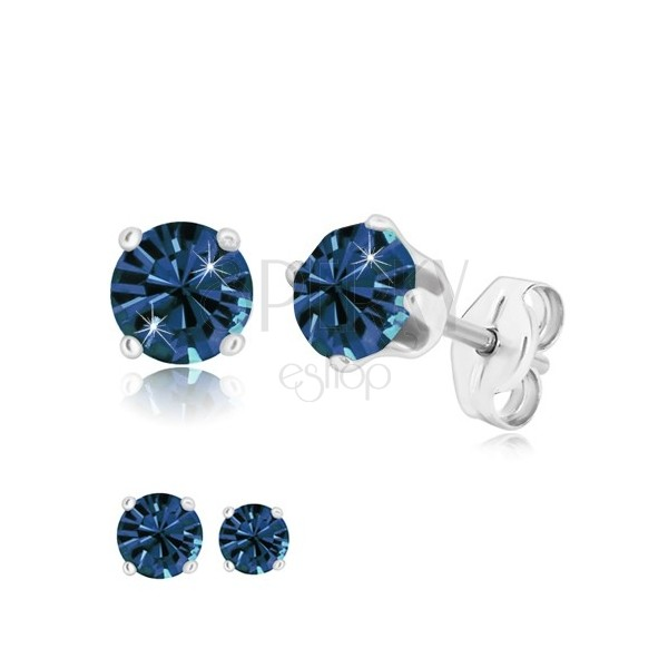 925 silver earrings - glittery dark blue zircon in mount, studs