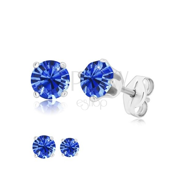 925 silver earrings - round zircon of sapphire-blue hue, four prongs