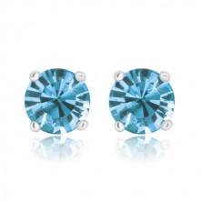 Studs - gittery zircons in mount, sky-blue, 925 silver