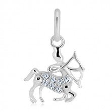 925 silver pendant - Centaur with long-bow and zircons, zodiac sign SAGITTARIUS