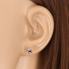 925 silver earrings - glittery round zircon in mount, tanzanite colour, studs